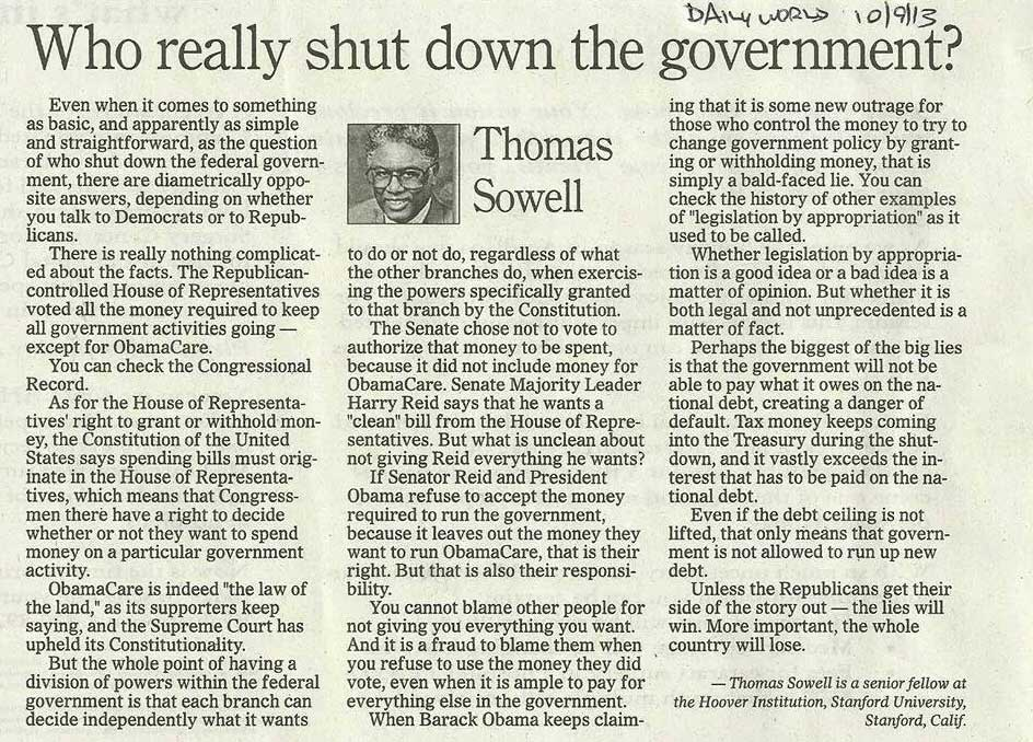 Congressional Blame Game from Thomas Sowell